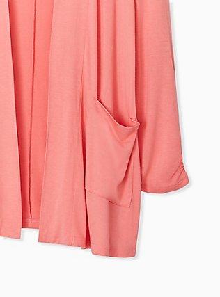 Super Soft Coral Open Front Cardigan, WILD ORANGE, alternate