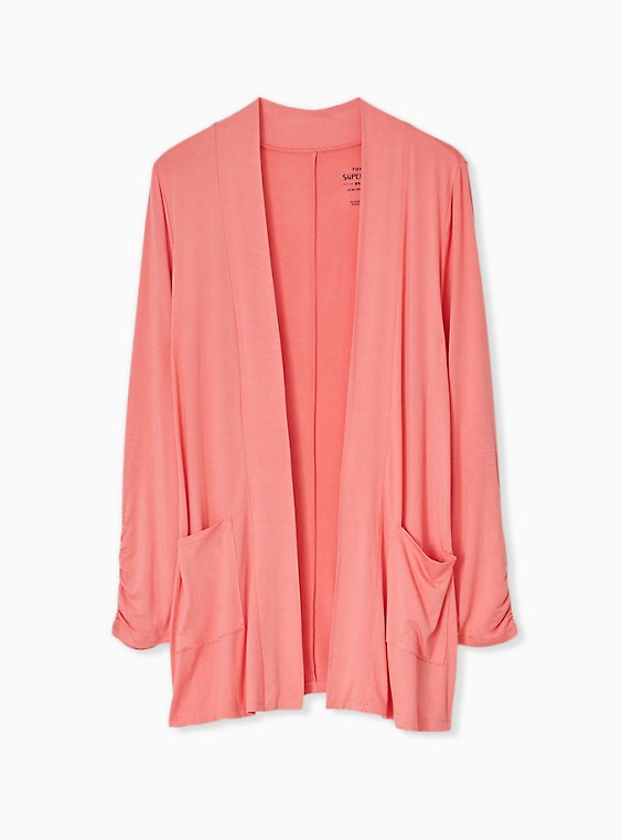 Plus Size Super Soft Coral Open Front Cardigan, , hi-res