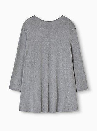 Plus Size Super Soft Heather Grey Drape Front Cardigan, GREY HEATHER, alternate