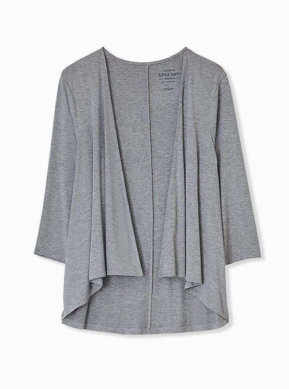 Super Soft Heather Grey Drape Front Cardigan, GREY HEATHER, hi-res