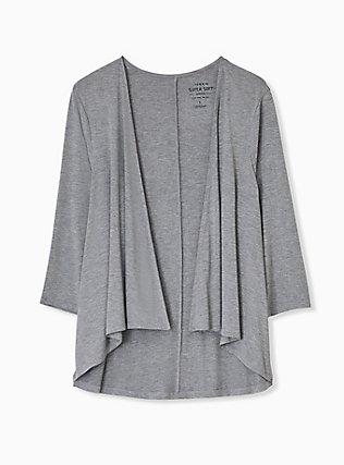 Plus Size Super Soft Heather Grey Drape Front Cardigan, GREY HEATHER, hi-res