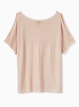 Pale Pink Shimmer Pointelle Cold Shoulder Dolman Top, ROSE, alternate