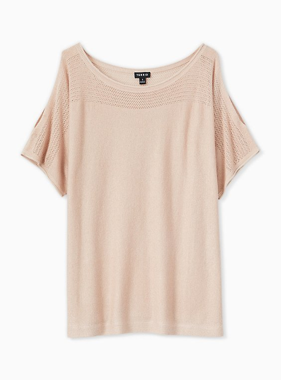 Plus Size Pale Pink Shimmer Pointelle Cold Shoulder Dolman Top, , hi-res