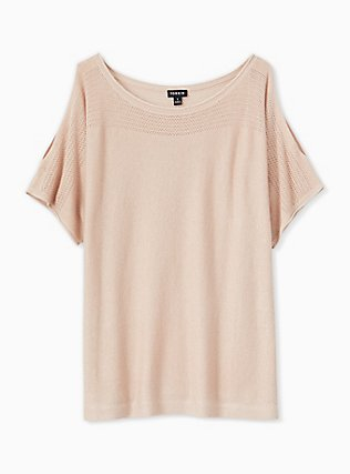 Pale Pink Shimmer Pointelle Cold Shoulder Dolman Top, ROSE, hi-res