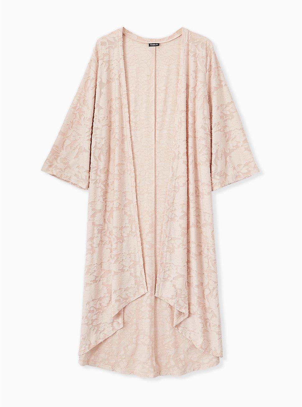 Light Pink Hacci Burnout Hi-Lo Kimono, ROSE, hi-res