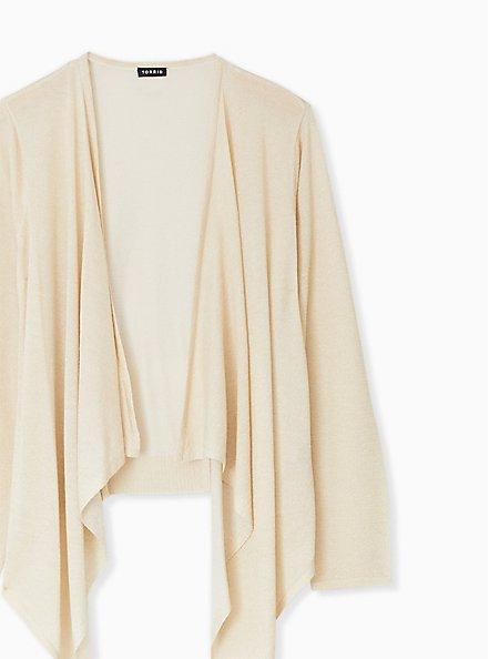 Plus Size Ivory Shimmer Open Stitch Drape Front Cardigan, TAN/BEIGE, alternate