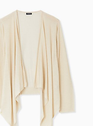 Plus Size Ivory Shimmer Open Stitch Drape Front Cardigan, TAN/BEIGE, alternate