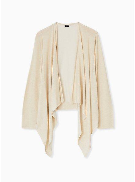Plus Size Ivory Shimmer Open Stitch Drape Front Cardigan, TAN/BEIGE, hi-res