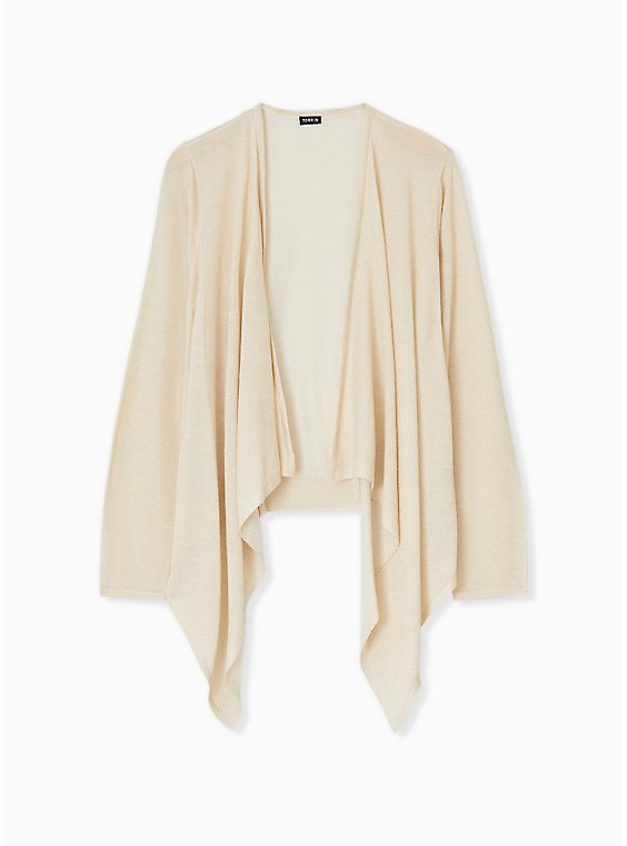 Plus Size Ivory Shimmer Open Stitch Drape Front Cardigan, , hi-res