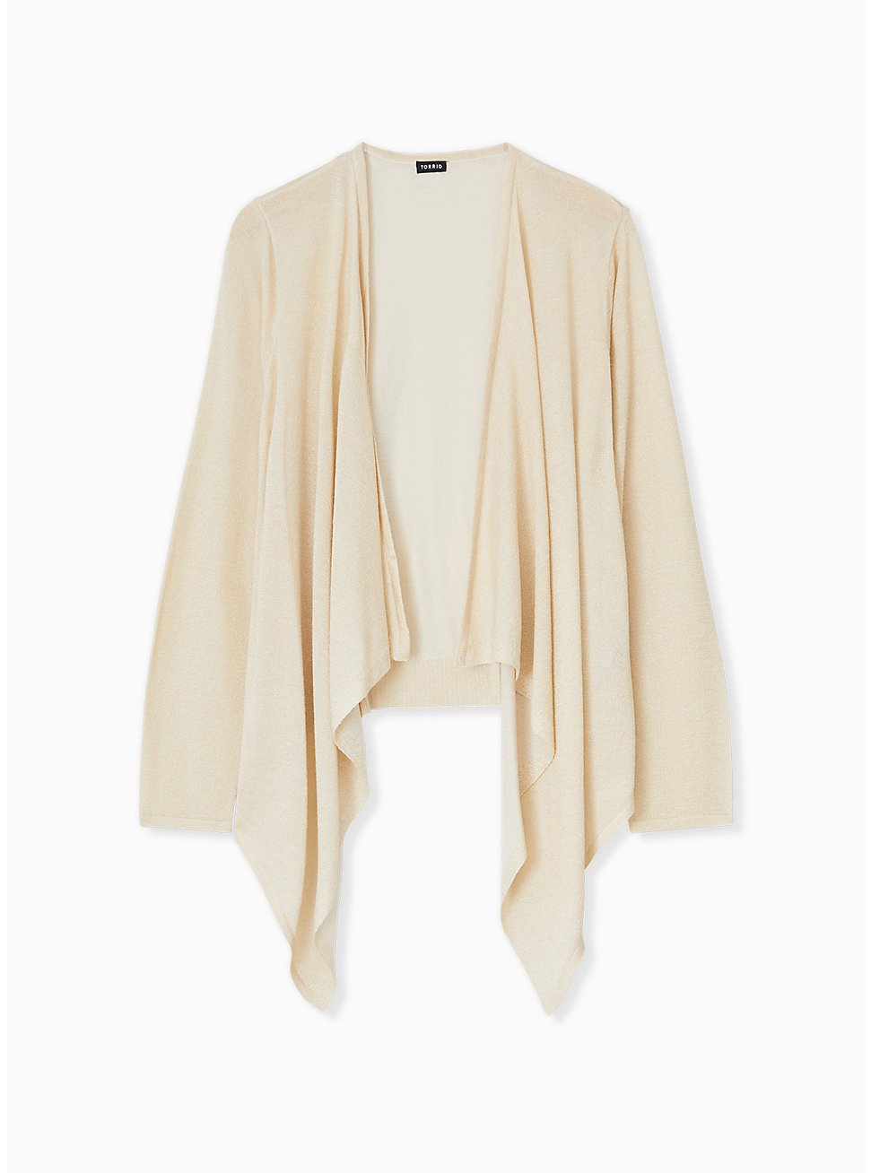Ivory Shimmer Open Stitch Drape Front Cardigan, TAN/BEIGE, hi-res