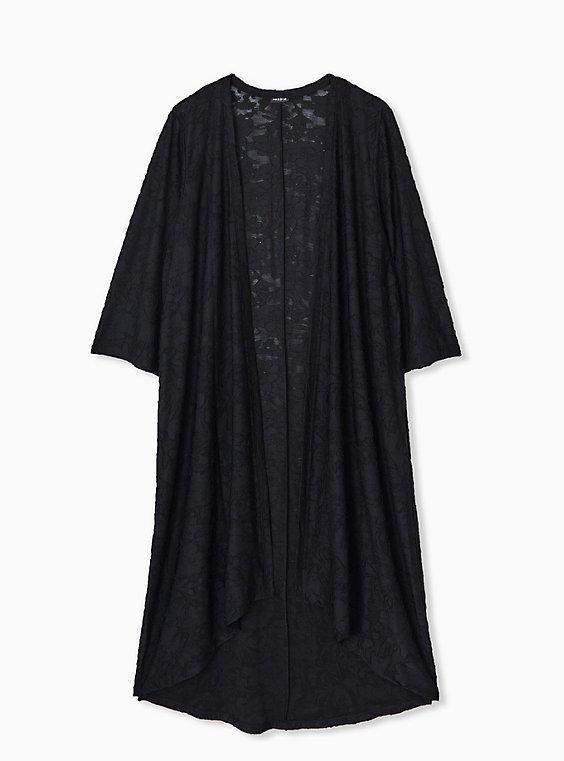 Plus Size Black Hacci Hi-Lo Kimono, , hi-res