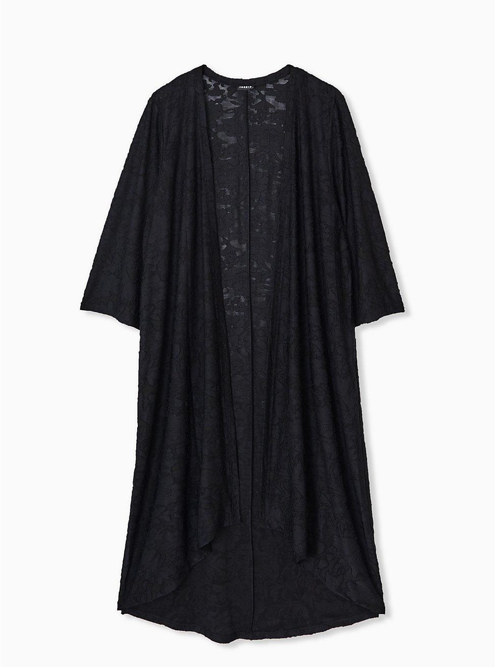 Black Hacci Hi-Lo Kimono, DEEP BLACK, hi-res