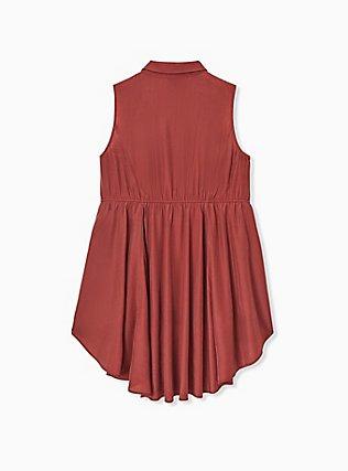 Brick Red Poplin Hi-Lo Sleeveless Babydoll Shirt, MADDER BROWN, alternate