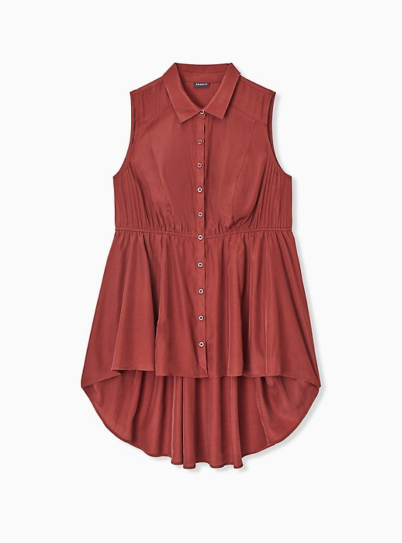 Plus Size Brick Red Poplin Hi-Lo Sleeveless Babydoll Shirt, , hi-res