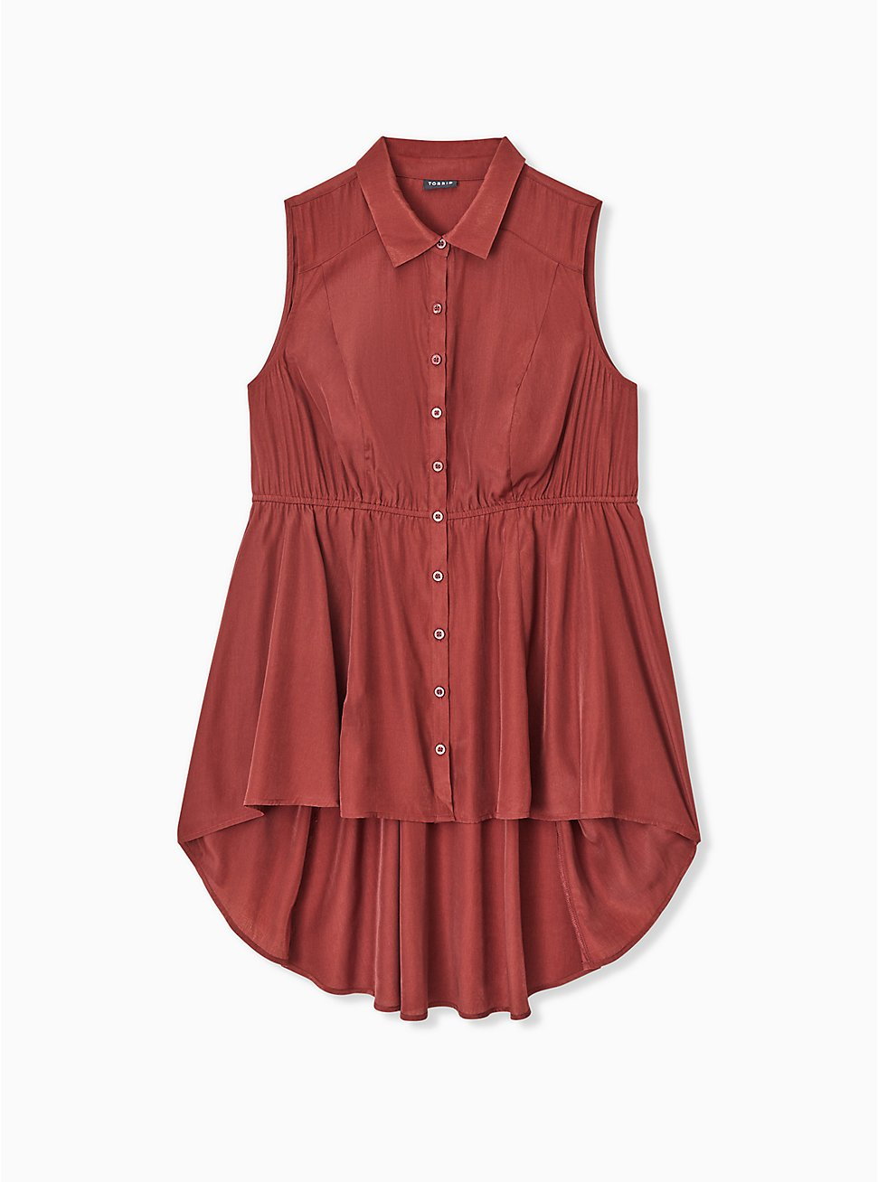 Plus Size Brick Red Poplin Hi-Lo Sleeveless Babydoll Shirt, MADDER BROWN, hi-res