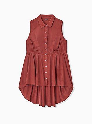 Brick Red Poplin Hi-Lo Sleeveless Babydoll Shirt, MADDER BROWN, hi-res