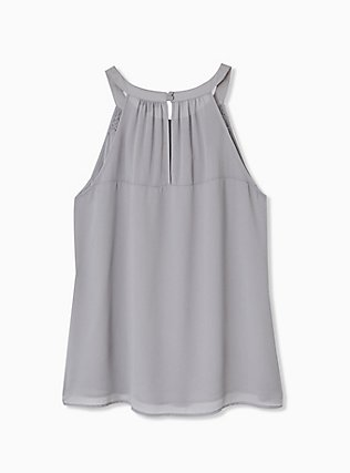 Plus Size Grey Chiffon Smocked Goddess Tank, FROST GRAY, alternate