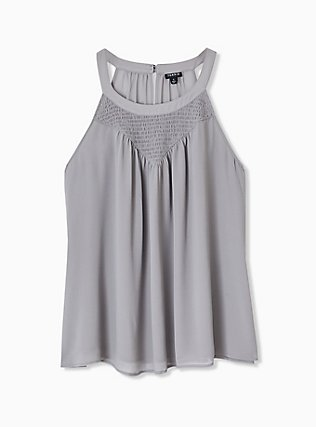 Plus Size Grey Chiffon Smocked Goddess Tank, FROST GRAY, hi-res