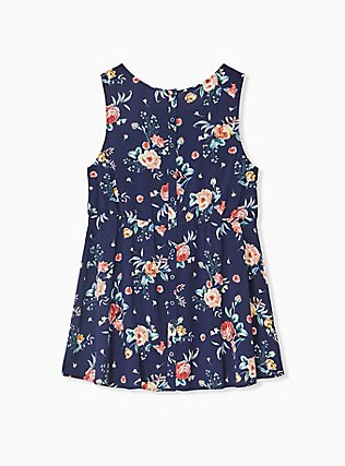 Navy Floral Challis Babydoll Button Back Hi-Lo Tank, FLORAL - BLUE, alternate