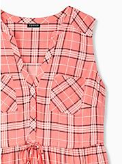 Emma - Coral Plaid Challis Drawstring Babydoll Tunic Tank , PLAID, alternate