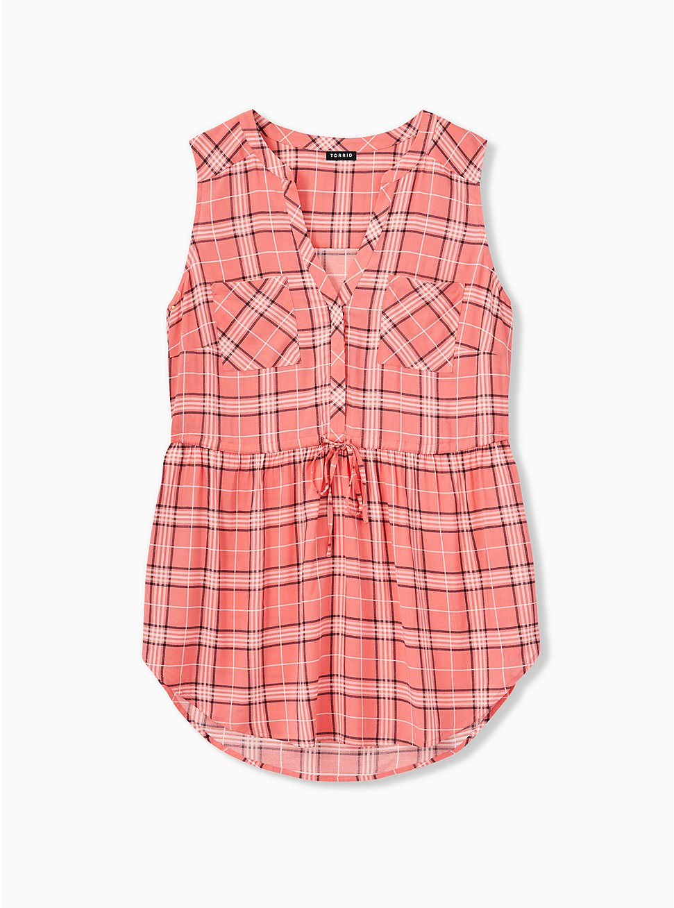 Emma - Coral Plaid Challis Drawstring Babydoll Tunic Tank , PLAID, hi-res