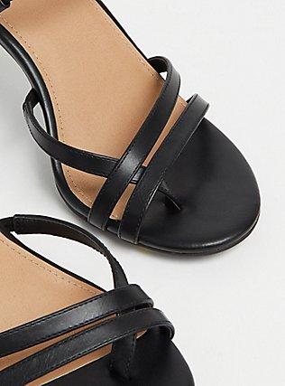 Plus Size Black Faux Leather Strappy Heel (WW), BLACK, alternate