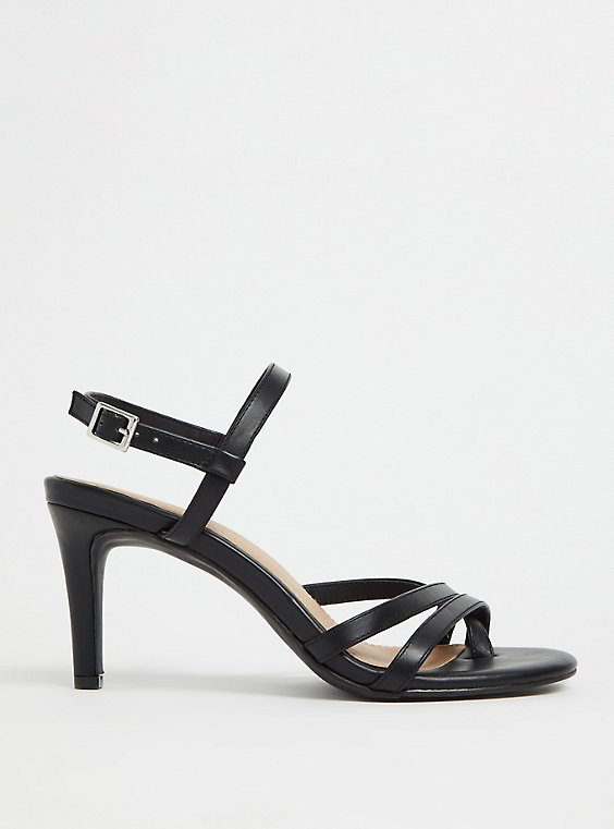 Black Faux Leather Strappy Heel (WW), , hi-res