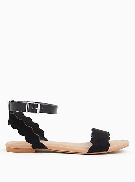 Plus Size Black Faux Suede Ankle Strap Scalloped Sandal (WW), BLACK, alternate
