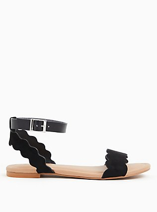 Black Faux Suede Ankle Strap Scalloped Sandal (WW), BLACK, alternate