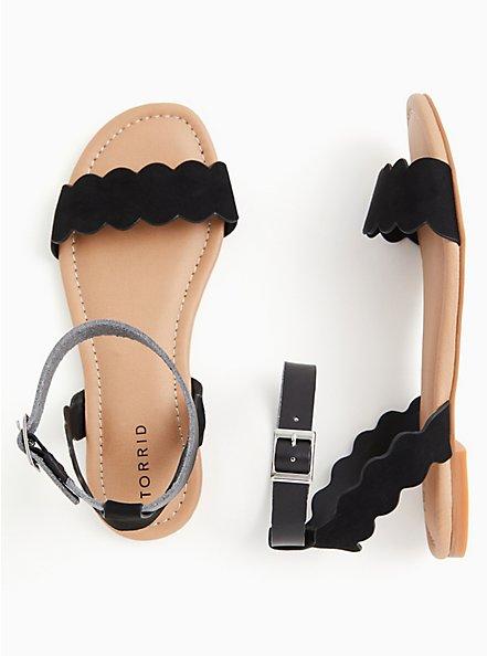 Plus Size Black Faux Suede Ankle Strap Scalloped Sandal (WW), BLACK, hi-res