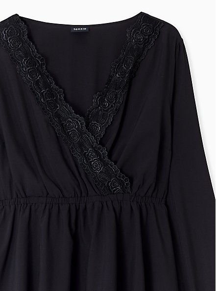 Plus Size Black Lace Trim Babydoll Blouse, DEEP BLACK, alternate