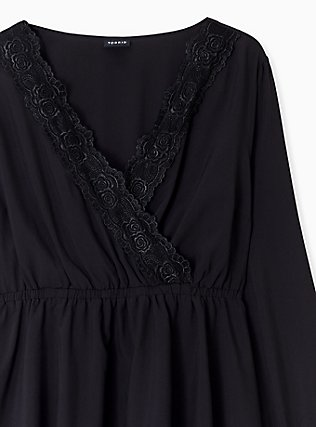 Black Lace Trim Babydoll Blouse, DEEP BLACK, alternate
