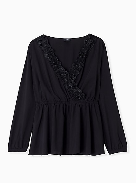 Plus Size Black Lace Trim Babydoll Blouse, DEEP BLACK, hi-res