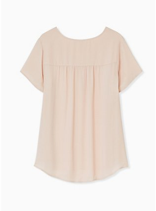 Plus Size Pale Pink Georgette Button Down Blouse, ROSE DUST, alternate