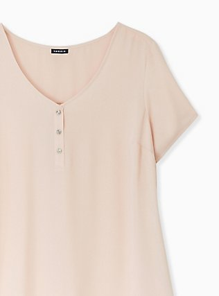 Pale Pink Georgette Button Down Blouse, ROSE DUST, alternate