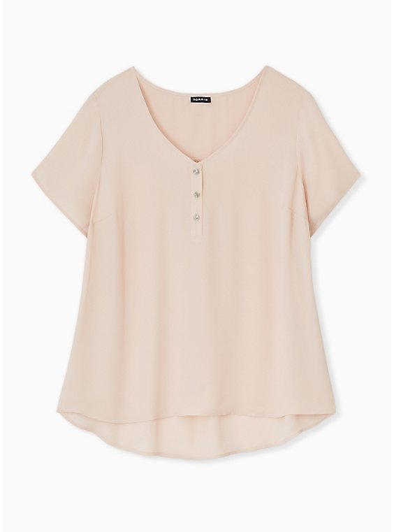 Pale Pink Georgette Button Down Blouse, , hi-res