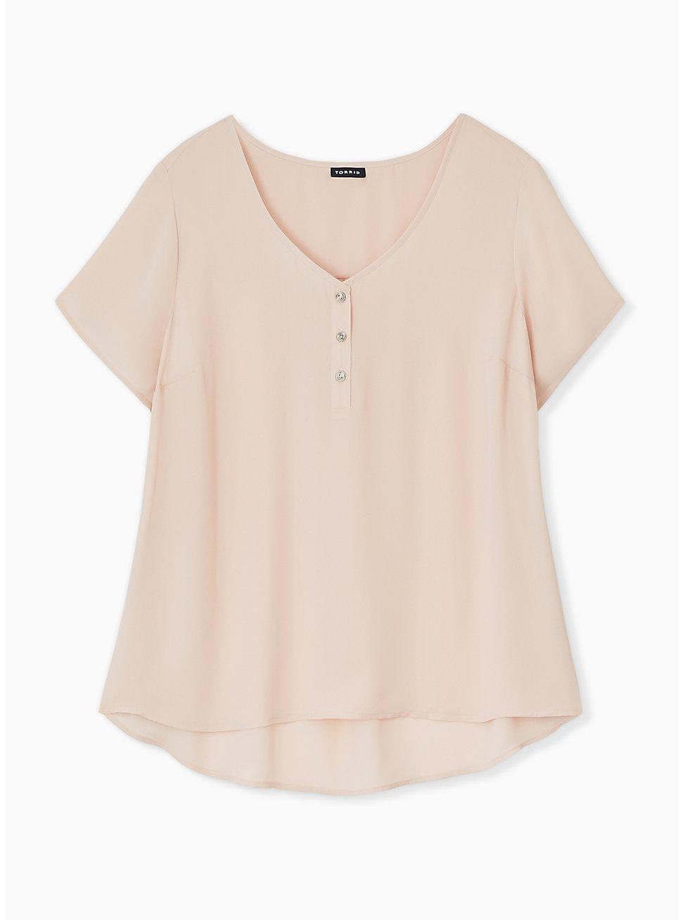 Pale Pink Georgette Button Down Blouse, ROSE DUST, hi-res