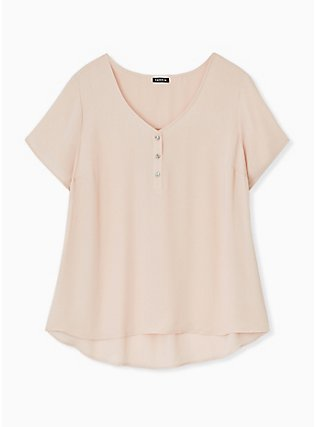 Plus Size Pale Pink Georgette Button Down Blouse, ROSE DUST, hi-res