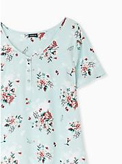 Mint Blue Floral Georgette Button Down Blouse, FLORAL - BLUE, alternate