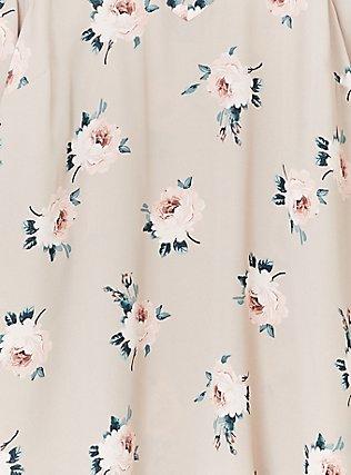 Taupe Floral Georgette Lace-Up Cold Shoulder Top, FLORAL - BROWN, alternate