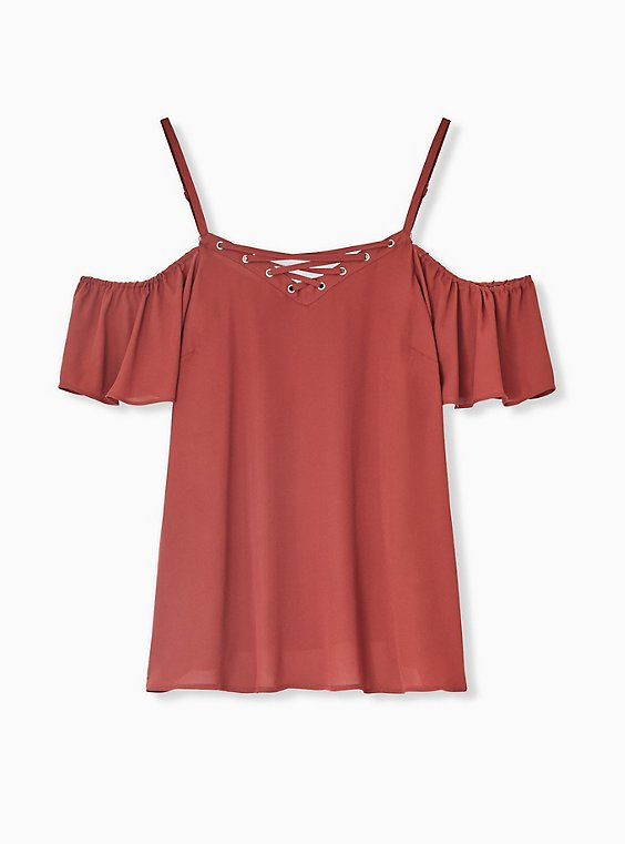 Plus Size Brick Red Georgette Lace-Up Cold Shoulder Top, MADDER BROWN, hi-res