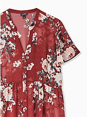 Lexie - Brick Red Floral Chiffon Hi-Lo Babydoll Tunic, FLORAL - BROWN, alternate