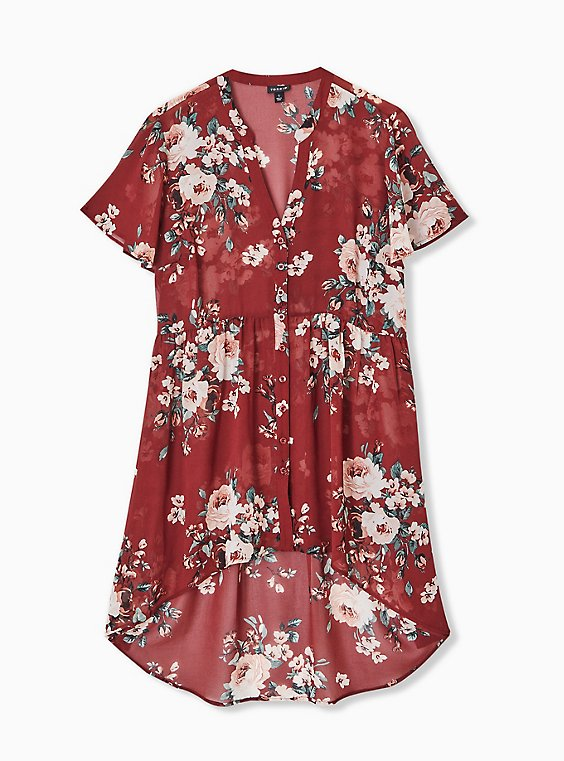 Lexie - Brick Red Floral Chiffon Hi-Lo Babydoll Tunic, FLORAL - BROWN, hi-res