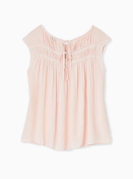 Light Pink Swiss Dot Crochet Inset Top, PEACH BLUSH, alternate