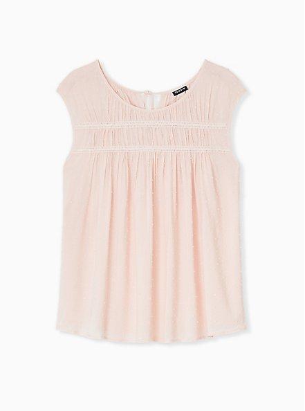 Light Pink Swiss Dot Crochet Inset Top, PEACH BLUSH, hi-res