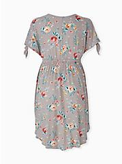 Taupe Floral Crinkled Gauze Cold Shoulder Hi-Lo Babydoll Tunic, FLORAL - BLUE, alternate