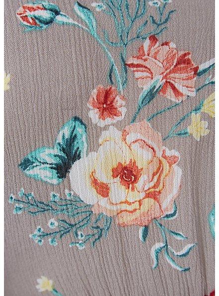 Taupe Floral Crinkled Gauze Cold Shoulder Hi-Lo Babydoll Tunic, FLORAL - BLUE, alternate