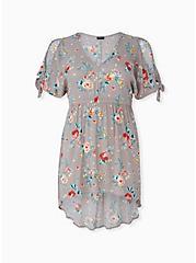 Plus Size Taupe Floral Crinkled Gauze Cold Shoulder Hi-Lo Babydoll Tunic, FLORAL - BLUE, hi-res