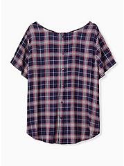 Abbey - Navy & Pink Plaid Gauze Button Back Blouse, PLAID - GREY, alternate