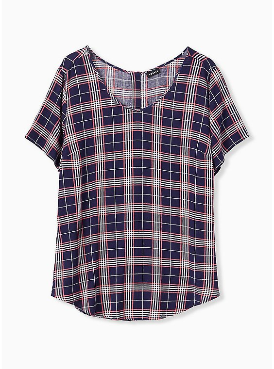 Plus Size Abbey - Navy & Pink Plaid Gauze Button Back Blouse, , hi-res